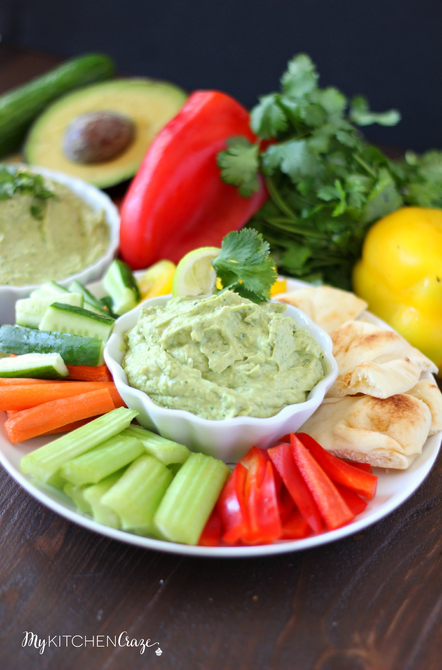 Avocado Yogurt Dip ~ mykitchencraze.com ~ Perfect for all sorts of vegetables and crackers. This dip needs to be at your next party!