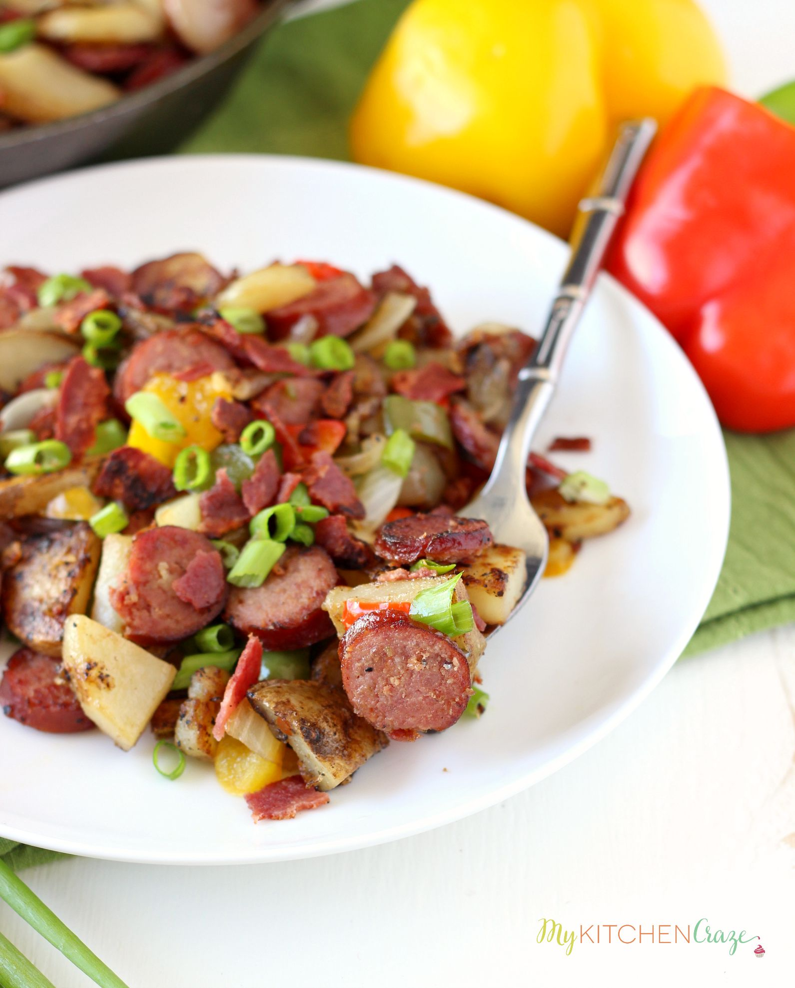Beef Kielbasa & Potato Skillet ~ mykitchencraze.com ~ Beef Kielbasa and Potato Skillet is a hearty delicious meal. On your table within 30 minutes and only uses one skillet, this dish makes cooking and cleaning a breeze.