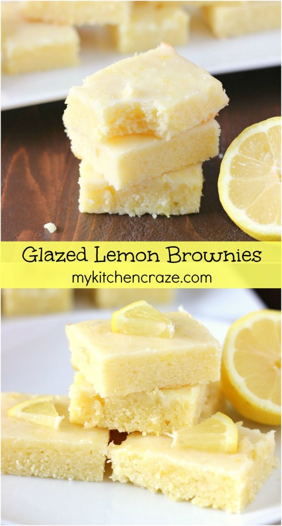 Glazed Lemon Brownies ~ mykitchencraze ~ Brownies that are quick and easy to make, plus they are a lemon lovers dream come true!