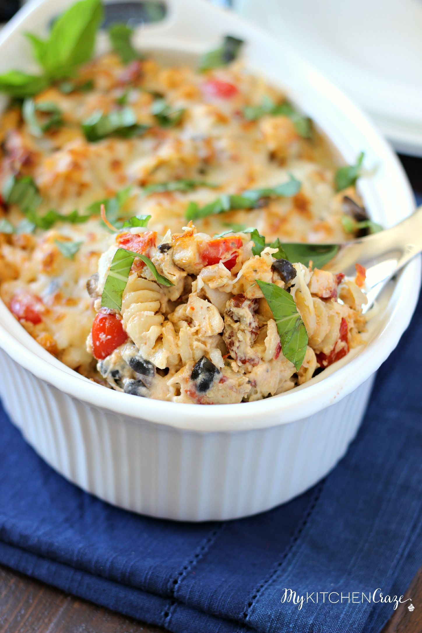 Mediterranean Chicken Pasta Bake ~ mykitchencraze.com ~ Creamy pasta, filled with delicious vegetables and baked to perfection!