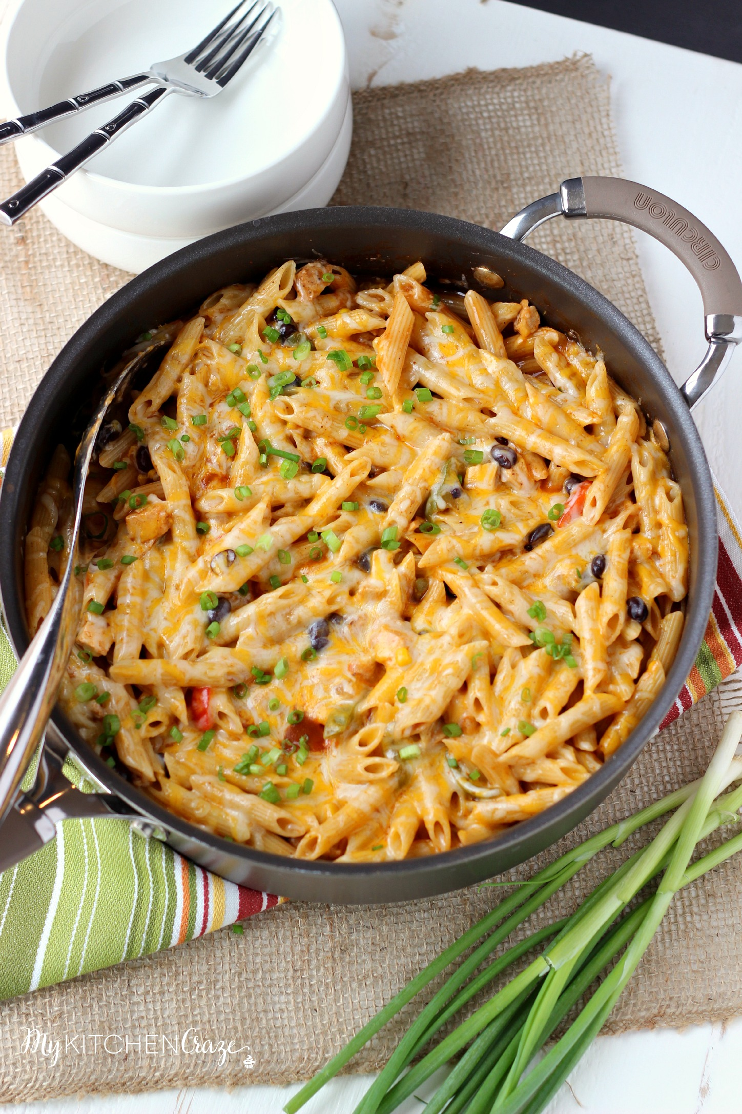 Four Cheese Chicken Enchilada Pasta ~ www.mykitchencraze.com ~ Have an easy and delicious meal on your table within 10 minutes. Quick, easy and a family favorite!