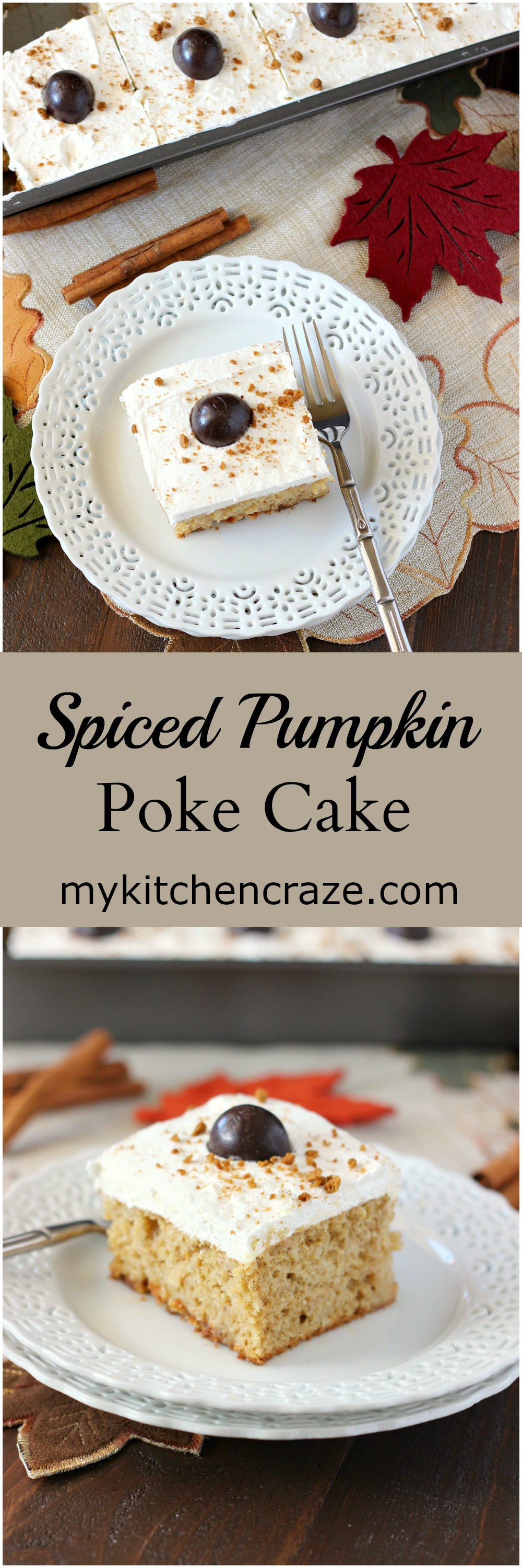 Spiced Pumpkin Poke Cake ~ mykitchencraze.com ~ Moist spiced pumpkin cake smothered with condensed milk, then topped with a cream cheese whipped frosting and a dark chocolate pumpkin. Delicious! #FallFlavors @Target [ad]