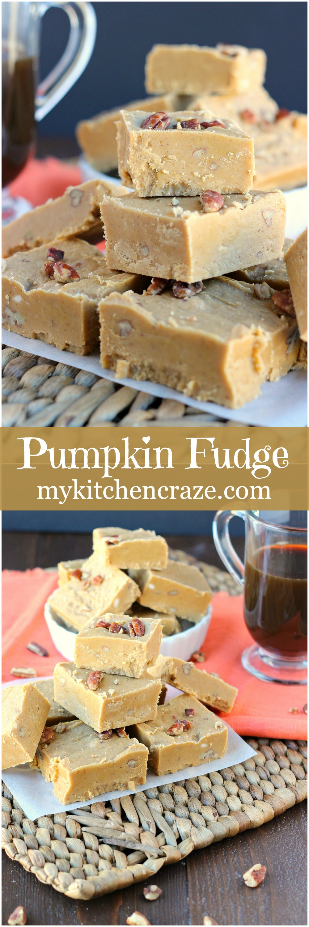 Pumpkin Fudge ~ mykitchencraze.com ~Pumpkin Fudge is a classic holiday recipe that tastes delicious and is perfect for the season!