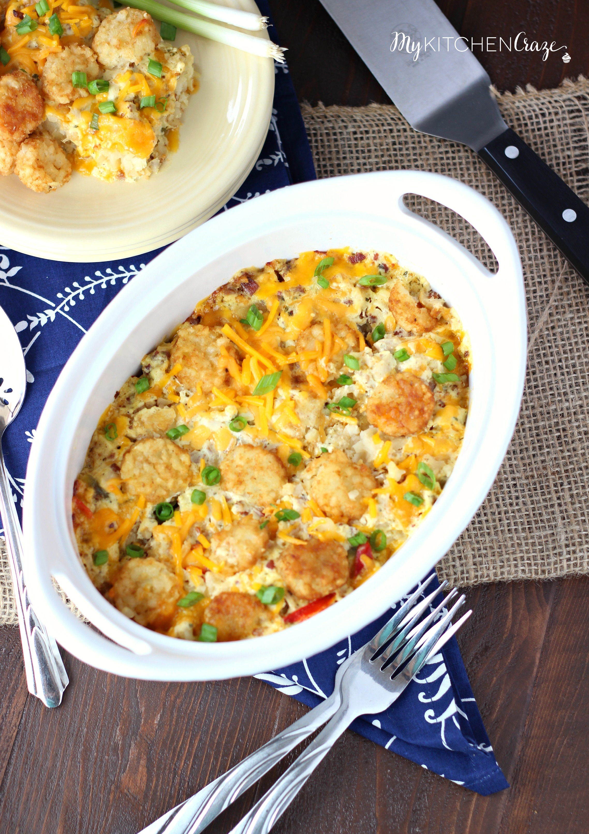 IMG_2939Chicken Ranch Tater Tot Casserole ~ mykitchencraze.com ~ Enjoy this easy no fuss casserole on those busy hectic nights. Creamy and loaded with tater tots. What could be better?