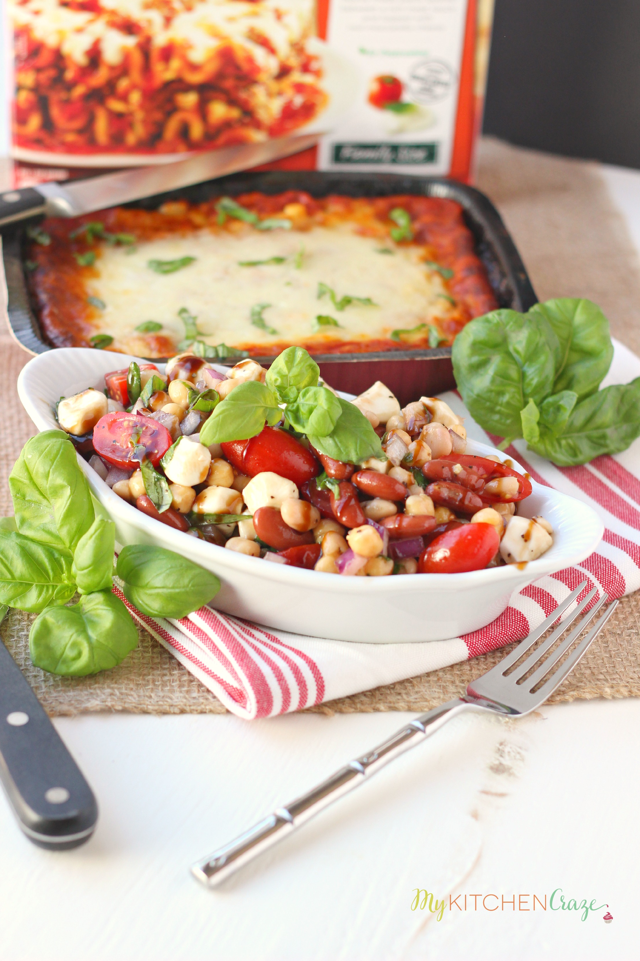 Lasagna Dinner Party Ideas Part - 16: Three Bean Caprese Salad ~ Mykitchencraze.com ~ Perfect Side Dish For Any  Meal.