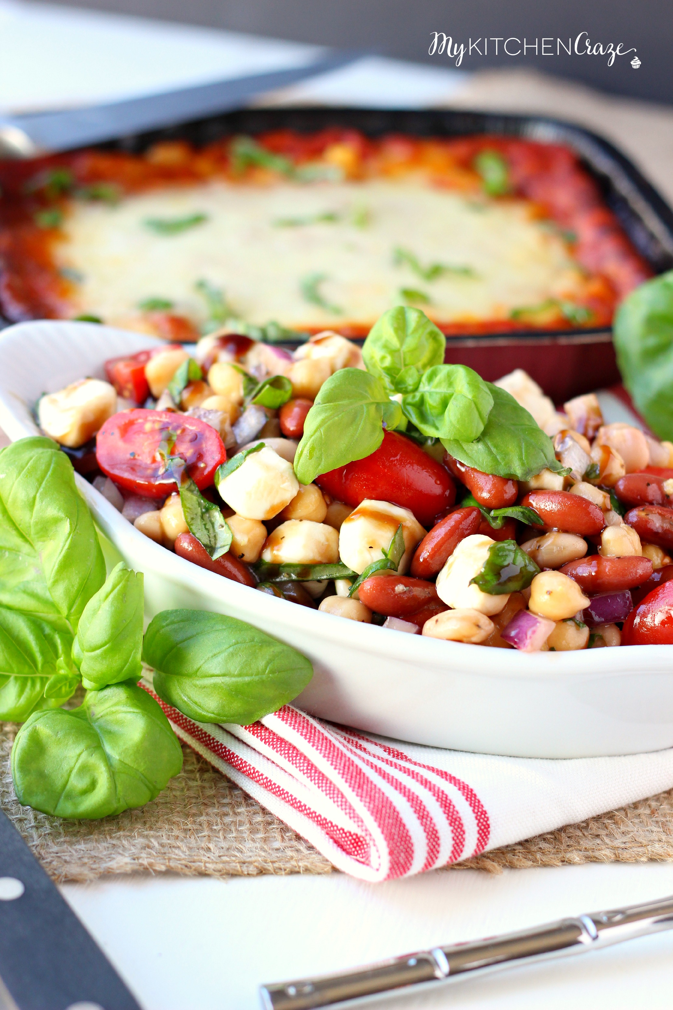 Three Bean Caprese Salad ~ mykitchencraze.com ~ Perfect side dish for any meal.