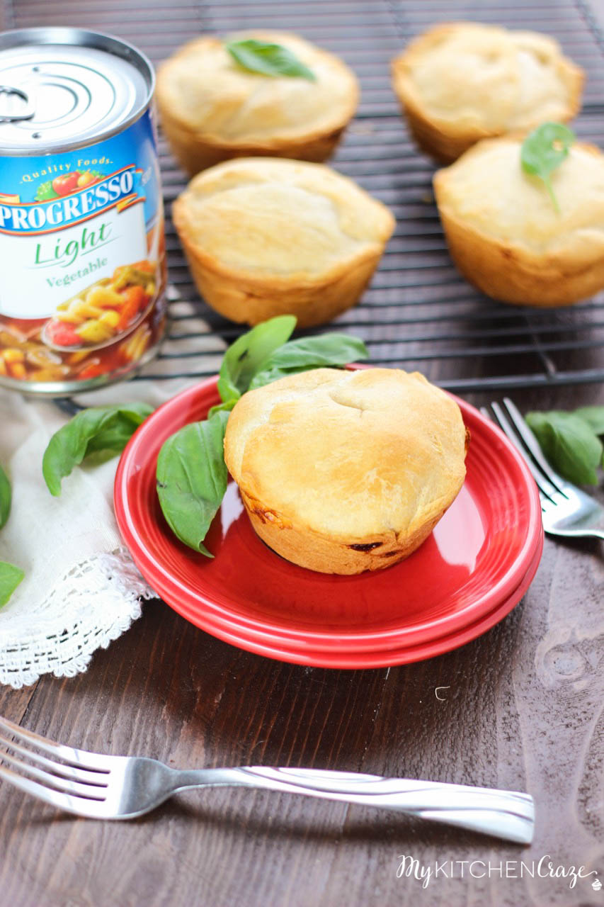 Mini Chicken Pot Pies ~ mykitchencraze.com ~ Everything you're used to in a chicken pot pie, but made mini! Easy to make and tastes delicious!