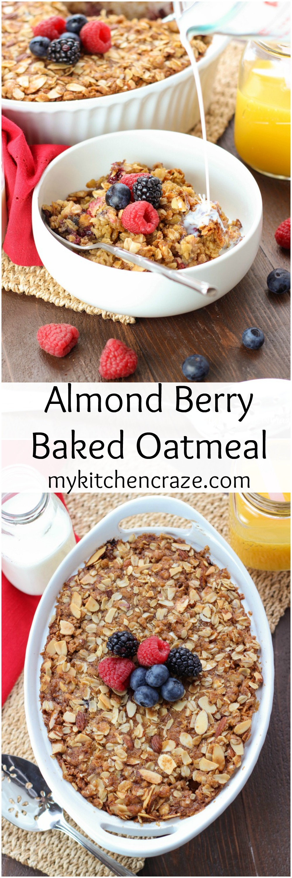 Almond Berry Baked Oatmeal ~ mykitchencraze.com ~ Perfect for those mornings where you want something hearty and delicious. Packed with mixed fruits and almonds. This is one yummy breakfast! #ad @BlueDiamondAlmonds