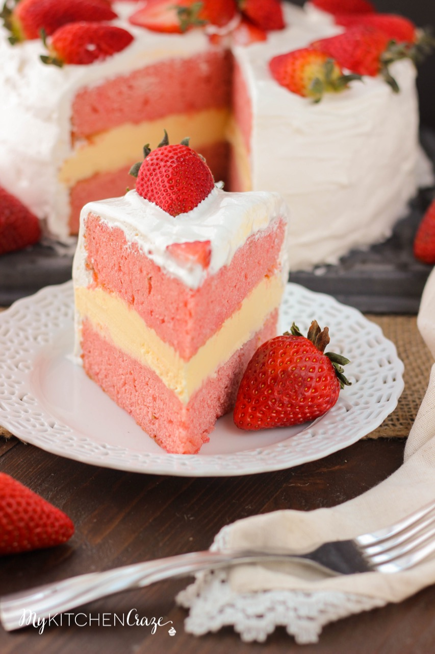 Strawberry Ice Cream Cake ~ mykitchencraze.com ~ Make your own delicious ice cream cake right in the comfort of your own home. Homemade strawberry cake layered with vanilla ice cream. All in one yummy bite.