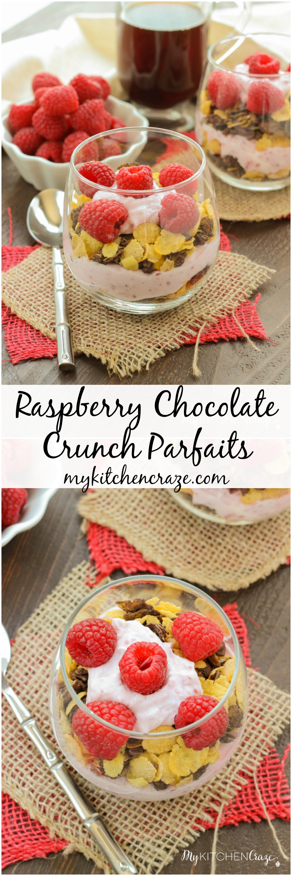 Raspberry Chocolate Crunch Parfaits ~ mykitchencraze.com ~ A delicious breakfast for those busy mornings. Greek yogurt layered with Honey Bunches of Oats Chocolate cereal and topped with fresh raspberries. Perfect combo!