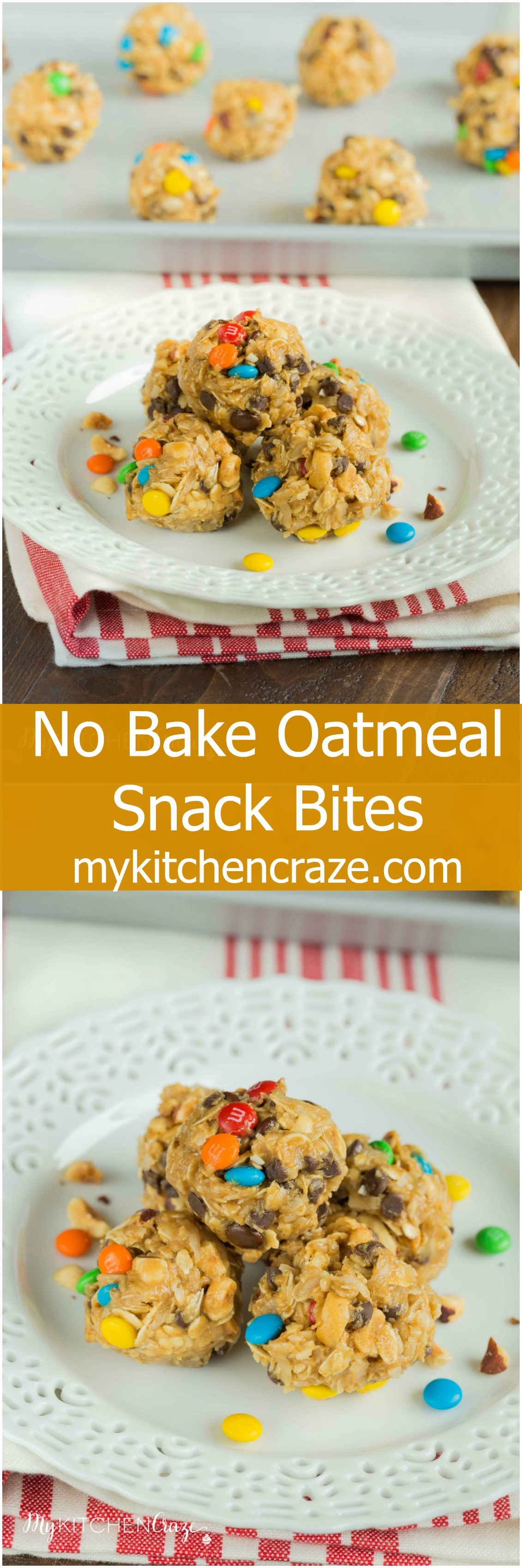 No Bake Oatmeal Snack Bites ~ mykitchencraze.com ~ Enjoy these easy & delicious snack bites on those afternoons you're craving sweets!!