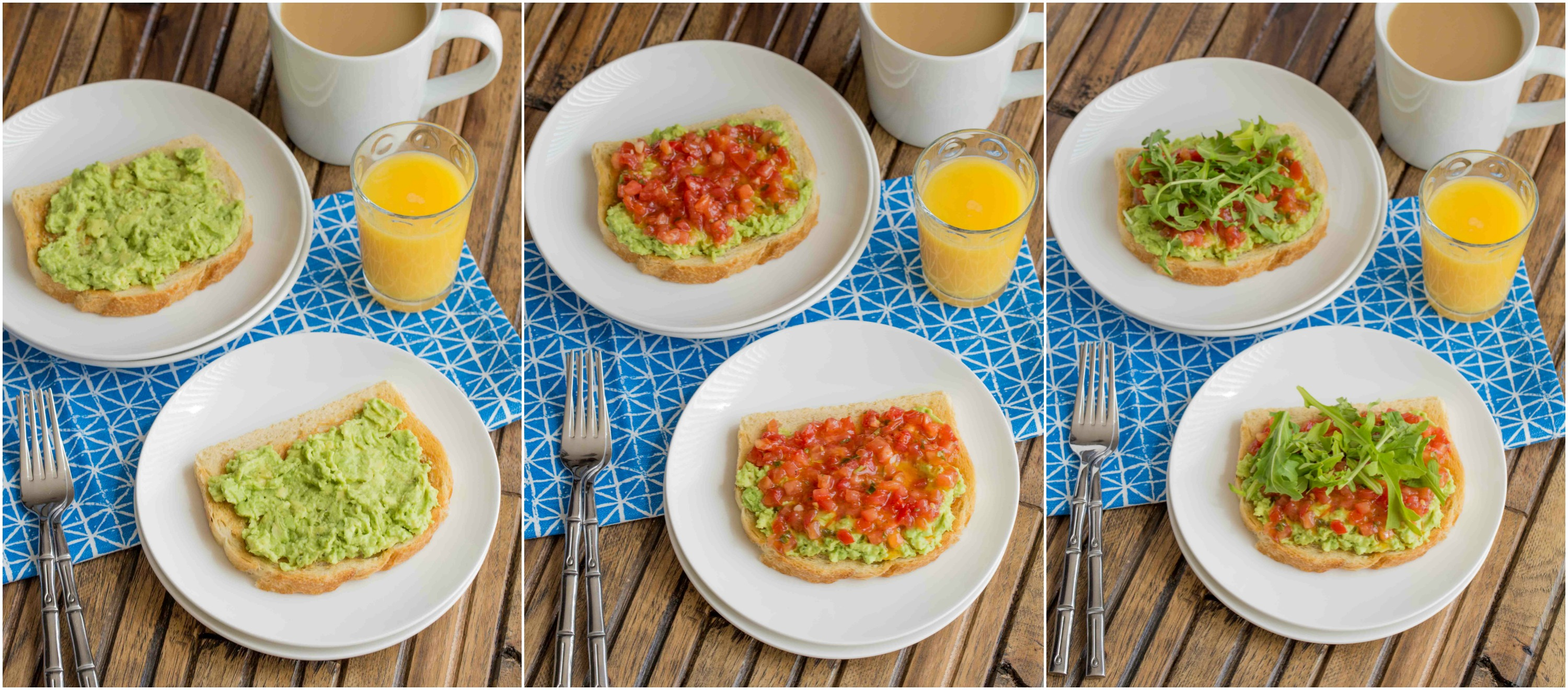Bruschetta Egg Avocado Toast ~ mykitchencraze.com ~ Sourdough toast loaded with avocado, bruschetta and arugula, then topped with an egg. Perfect way to start your morning!