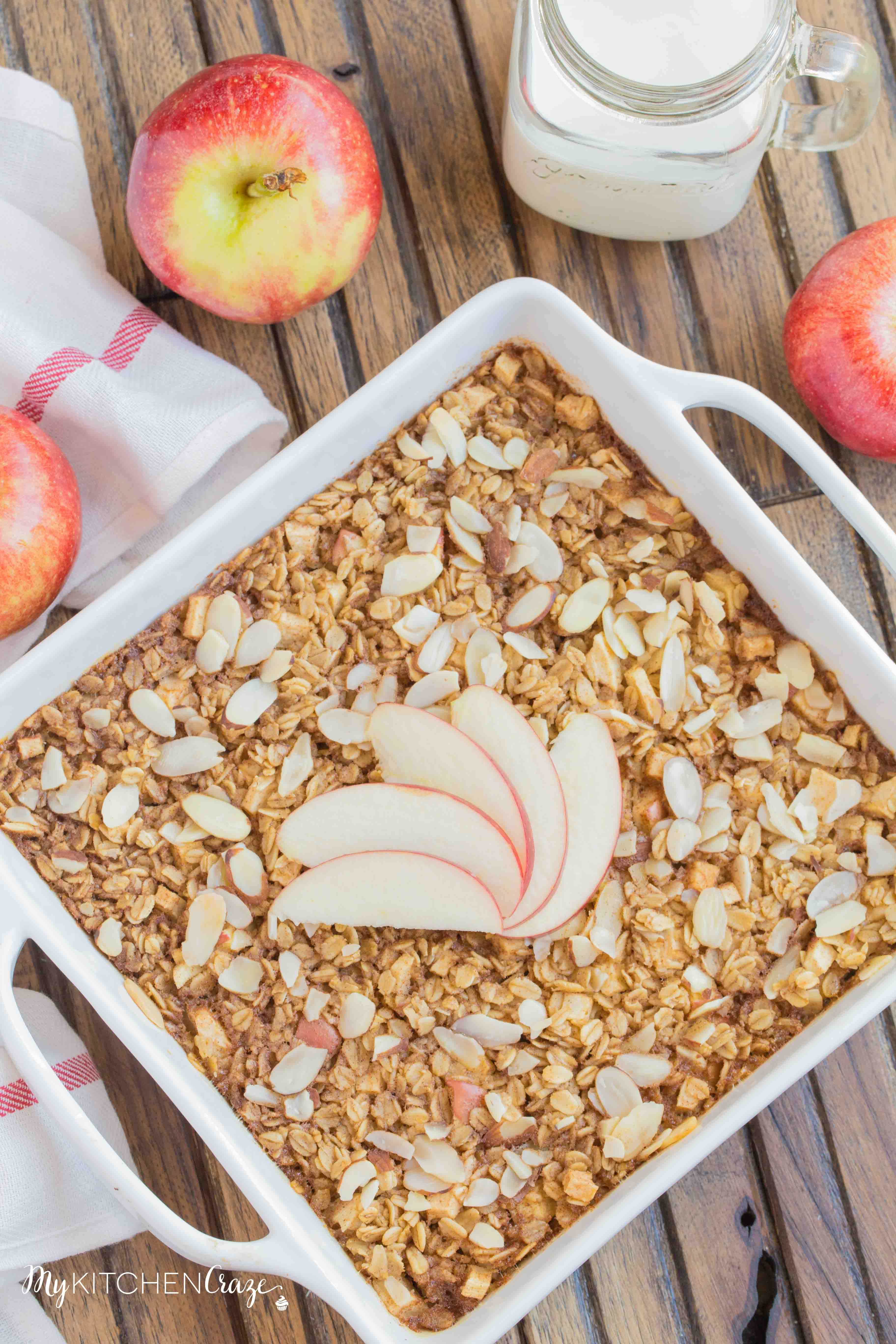 Apple Cinnamon Baked Oatmeal ~ mykitchencraze.com ~ This baked oatmeal is prepared within minutes and is perfect for a hearty breakfast!