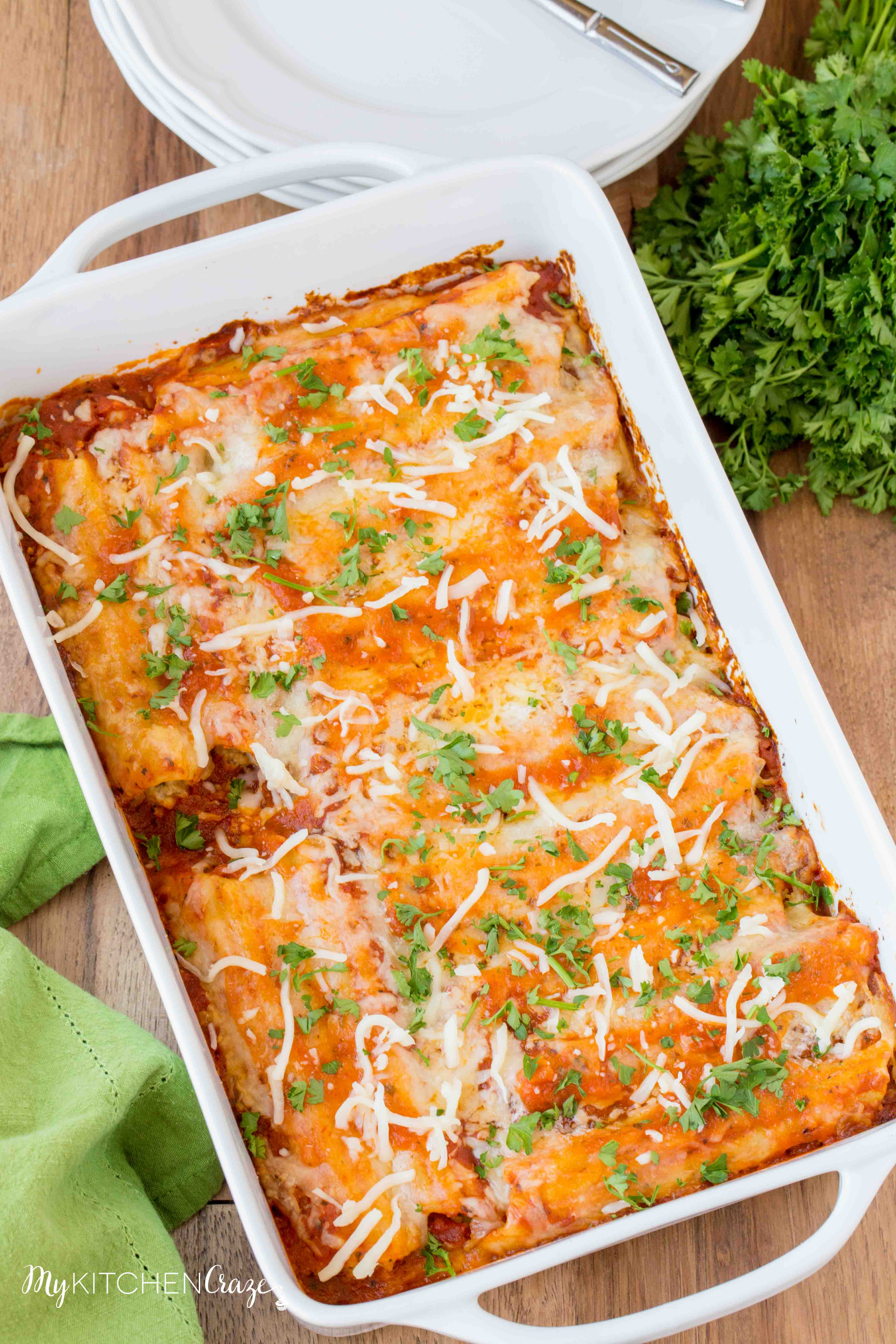 Homemade Manicotti ~ mykitchencraze.com ~ Enjoy this delicious homemade manicotti right at your own dinner table. It's a perfect recipe for a potluck or family gathering.