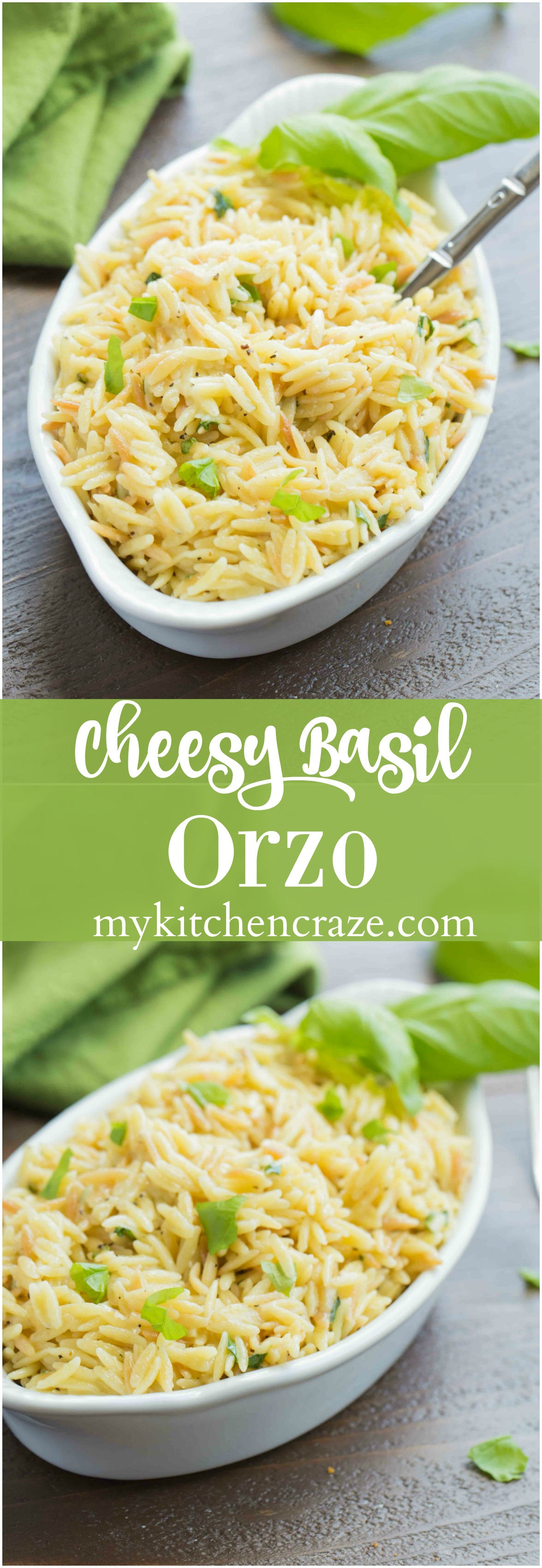 Cheesy Basil Orzo ~ Just 6 ingredients are all you need to make this fresh pasta side. The lemon and basil brighten the dish making it perfect for any main dish.