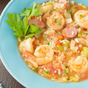 30 Minute Sausage and Shrimp Gumbo is a quicker way to enjoy a delicious classic! This gumbo is packed with delicious flavor, perfect for those busy hectic nights!