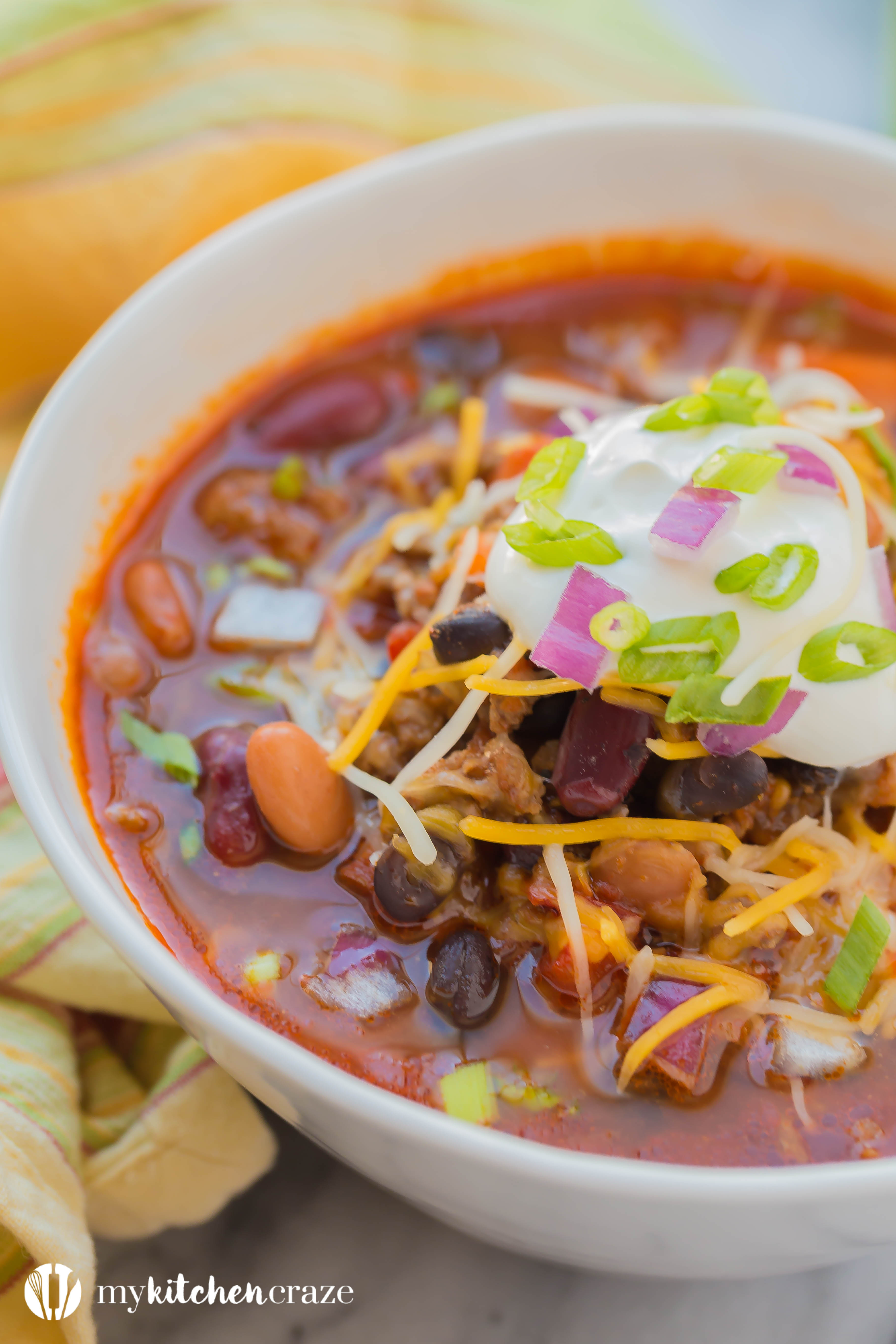 Three Bean Chili is comfort food at it's finest. Loaded with delicious flavor and three different types of beans, this is one soup you can't pass up!