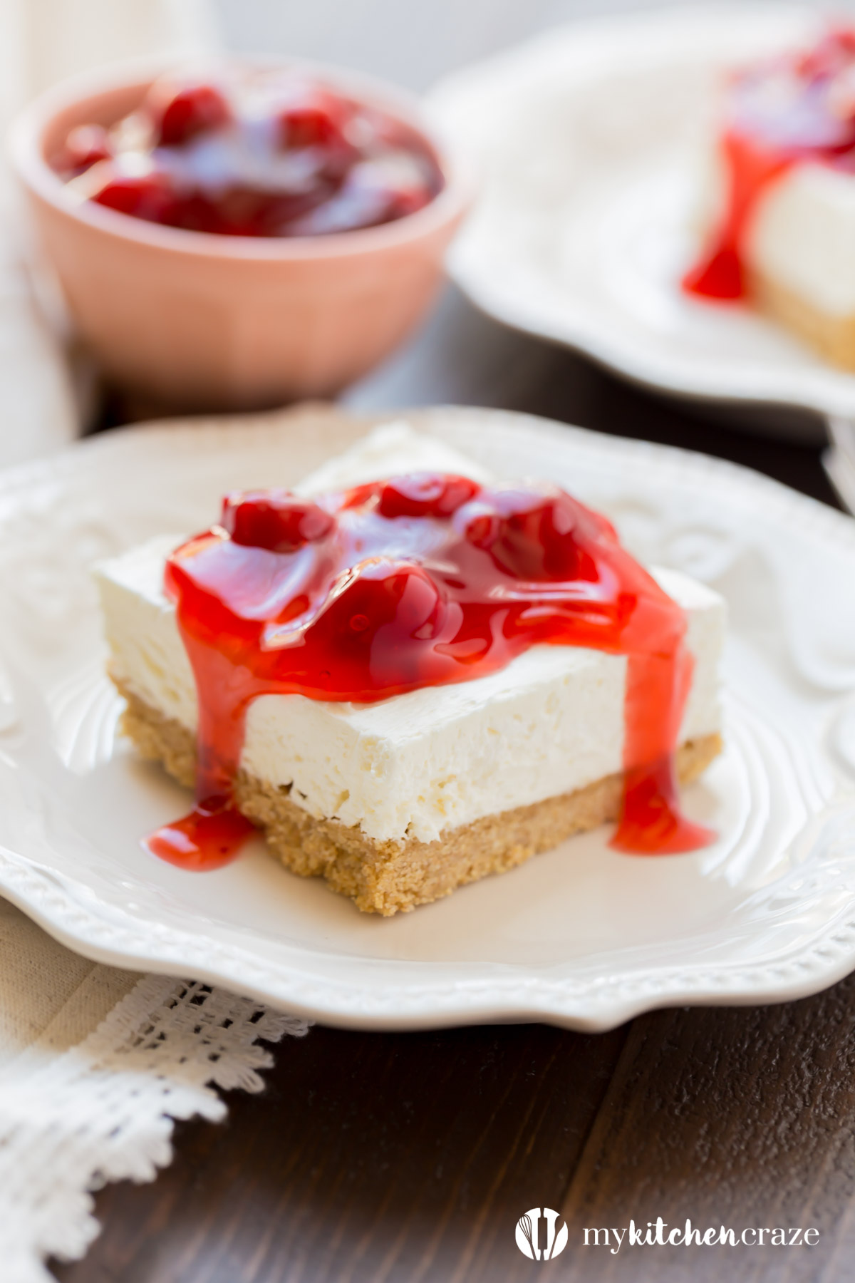 No Bake Cherry Delight is a family favorite. This dessert is a scrumptious no bake dessert and perfect for those hot summer days! #nobake #dessert #cheesecake #cherries