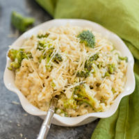 Roasted Broccoli Risotto is the perfect side dish to accompany fish and chicken entrees. This rice is easy to throw together, creamy and has the perfect flavors.