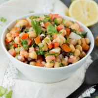 Simple, easy and fresh ingredients are the key to this delicious Tomato Chickpea Salad. You can use it as a side dish or eat it as the main with some protein. Either way, this salad is yummy.