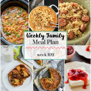 Weekly Family Meal Plan 109